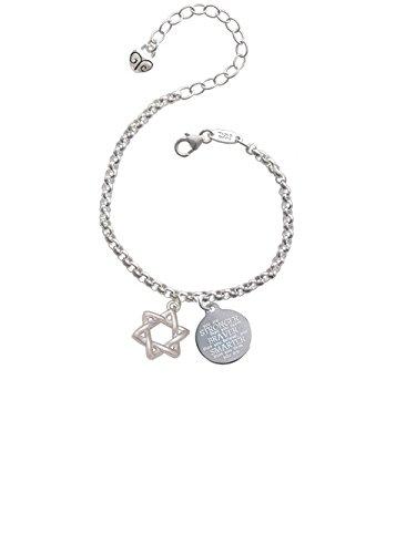 Woven Star of David Stronger Braver Smarter Engraved Bracelet