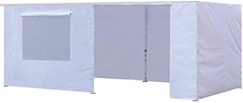 Eurmax Zippered Walls for 10 x 20 Canopy Tent,Enclosure Sidewall Kit with Roller Up Mesh Window and Door,4 Walls ONLY,White