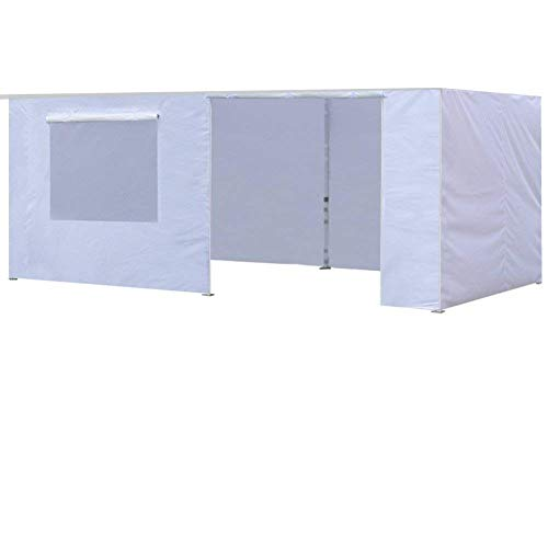Eurmax Zippered Walls for 10 x 20 Canopy Tent,Enclosure Sidewall Kit with Roller Up Mesh Window and Door,4 Walls ONLY,White ()