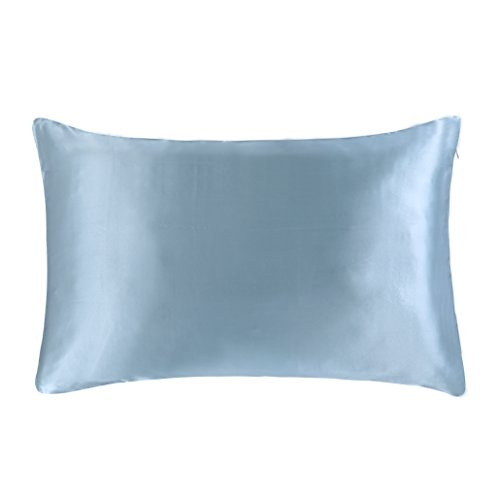 Blue Silk Pillow - OOSILK 100% Mulberry Silk Pillowcase for Hair Queen 20in x 30in, 1pc , Light Blue,Gift Wrap