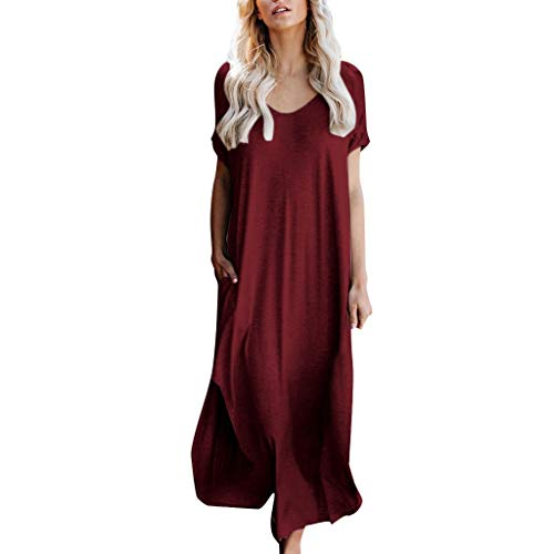 Zlolia Women's Solid Color Short-Sleeved Pocket Maxi Dress Short-Sleeved Straight Swing Skirt Ladies Casual Loose Dress ()
