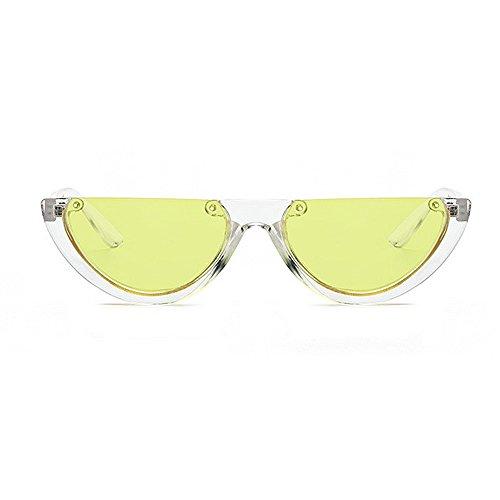 lentille lunettes les Lady Punk soleil femmes pour Jaune de hommes unisexe soleil lunettes unisexe Style Classic rétro PC Semi de plastique élégant Style Rimless Retro protection petit cadre en UV lunettes x7wfRnqIC