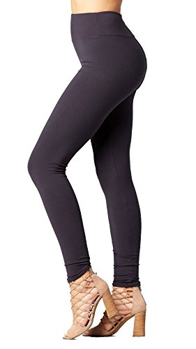 - Conceited Super Soft High Waisted Leggings for Women - Full Length Charcoal Grey - Small/Medium (0-10)