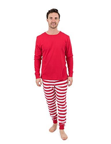Leveret Mens Pajamas Red Top Striped Pants 2 Piece Pajama Set 100% Cotton Size Small