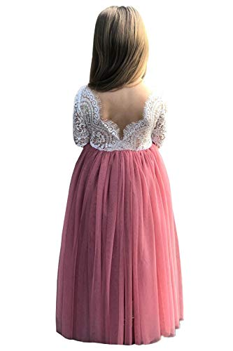 2Bunnies Girl Peony Lace Back A-Line Straight Tutu Tulle Party Flower Girl Dresses (Dusty Pink Maxi, 4T)