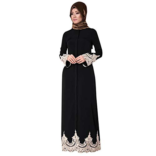 2019 New! Middle Eastern Turkish Dress,Muslim Women Fashion Lace Robe Loose Long Sleeve Maxi Dresses Black