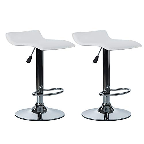 VON RACER PU Leather Bar Stools Set of 2 – Adjustable Height 360 Degree Swivel Barstools Modern Pub Counter Chair, White For Sale