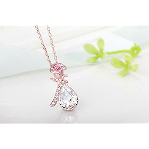 ecf82506bdae0 Fappac 18k Rose Gold Plated White Crystals Flower Pendant Necklace ...