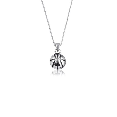 Silver Signature Basketball (Dayna Designs Sterling Silver Basketball Jewelry - Stud and Dangle Earrings, Open Heart and Classic Charm Necklace - Ready-to-gift in Our Signature Screw-Top Tin! (Basketball Charm Necklace))