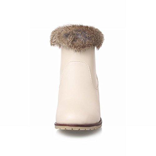 on Chunky Winter Faux Dress Boots Lining Fur Womens Mid Beige Carolbar Charm Heel Pull Elegance Wool Fashion qRn1wUxB