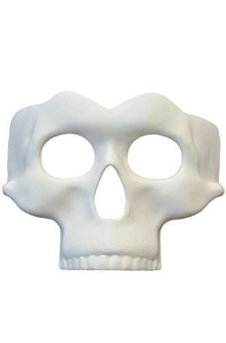 (White Paint Your Own Skull Half Mask Adult Mens Womens Costume Accessory)