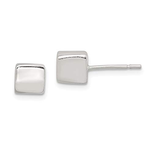 925 Sterling Silver 6mm Square Post Stud Earrings Ball Button Fine Jewelry Gifts For Women For Her