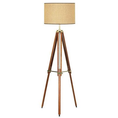 Pacific Coast Lighting 85-2148-68 Tripod 1-Light Floor Lamp, Walnut Finish with Beige Fabric - Today Macy's Offers