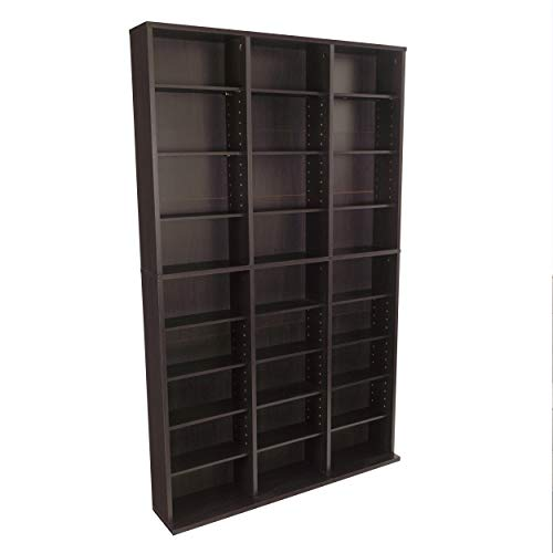 - Atlantic Oskar Adjustable Media Wall-Unit - Holds 756 CDs, 360 DVDs or 414 Blu-Rays/Games, 21 Adjustable and 6 fixed shelves PN38435713 in Espresso