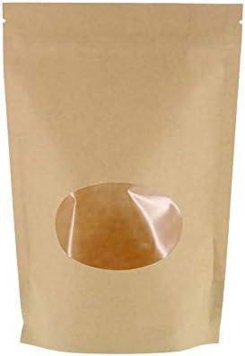 SumDirect 50Pcs Kraft bolsa papel con cierre Zip, reutilizable de bolsa de pie con ventana transparente y muesca del rasgón del lacre para guardar, galleta, alimentos secados, aperitivos (14 x 19 cm)