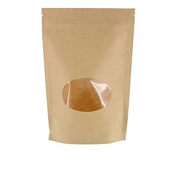Bon SumDirect 50Pcs 11x16cm Sac Zip Petit Fermeture à Glissière Plastique Sachet  En Papier Kraft Per Alimentaire