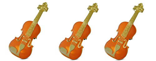 (Novel Merk 3-Piece Red-Toned String Violin Fiddle Musician Lapel or Hat Pin & Tie Tack Set with Clutch)