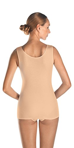 HANRO Women's Cotton Seamless V-Neck Tank, Skin, Medium ()
