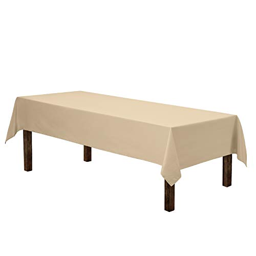"""Gee Di Moda Rectangle Tablecloth - 60 x 102"""" Inch - Beige Rectangular Table Cloth for 6 Foot Table in Washable Polyester - Great for Buffet Table, Parties, Holiday Dinner, Wedding & More"""