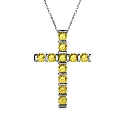 Trendzjewels 1.00 Carat Created Round Cut Diamond Engagement Wedding Cross Pendant 14K White Gold Finish (Yellow Sapphire)