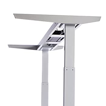 """ApexDesk Elite Series 71"""" W Electric Height Adjustable Standing Desk (Memory Controller, 71"""" Top in Light Oak, Off-White Frame)"""