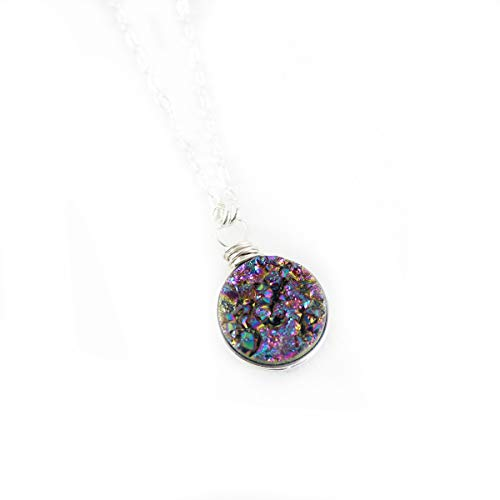 (Rainbow Druzy Geode Sterling Silver Circle Necklace - 18