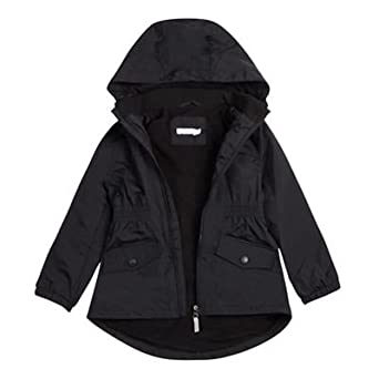 95d5bf307c153 Debenhams Kids Girls  Black Fleece Lined Coat  Debenhams  Amazon.co.uk   Clothing