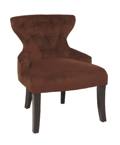 AVE SIX Curves Upholstered Hour Glass Accent Chair with Espresso Finish Wood Legs, Chocolate Velvet
