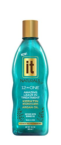 - IT NATURALS 12-in-ONE Argan Oil Leave In Treatment with Keratin, 10.2oz | Infused with Keratin Proteins | Humidity Resistant | UV Protection | Remove Tangles, Color Safe | Paraben Free