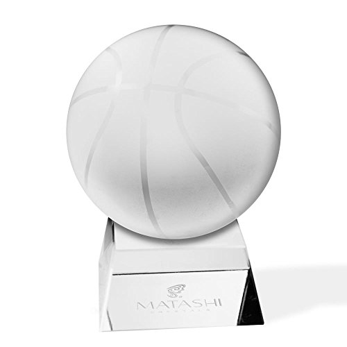 Matashi Crystal Paperweight with Etched Basketball Ornament and Trapezoid Base - Basketball Ornament