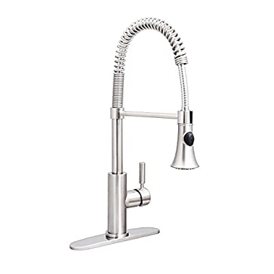 Enbol® KFD183A-BN Single Handle Pull Down Lead Free Kitchen Faucet,Brushed Nickel