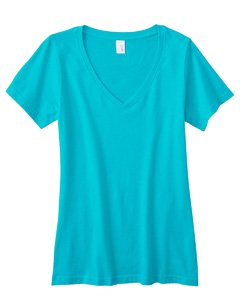 Anvil 392 Ladies Featherweight V-Neck T-Shirt, Caribbean Blue, Extra (Anvil Ladies V-neck Tee)