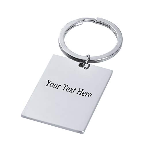 Personalized Free Engraved Stainless Steel Tag ID Pendant Keychain Key Ring - Customized Gift