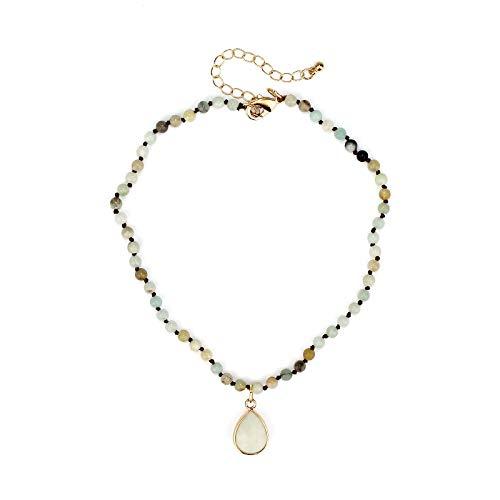 POMINA 6mm Semi Precious Stone Beaded Short Necklaces (Amazonite - Pendant)