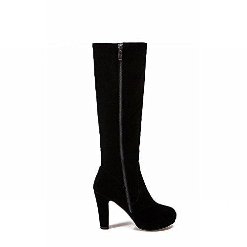 High Black Womens Heel Dress Zip Boots Rhinestones Chains Carolbar High Knee O7xfn
