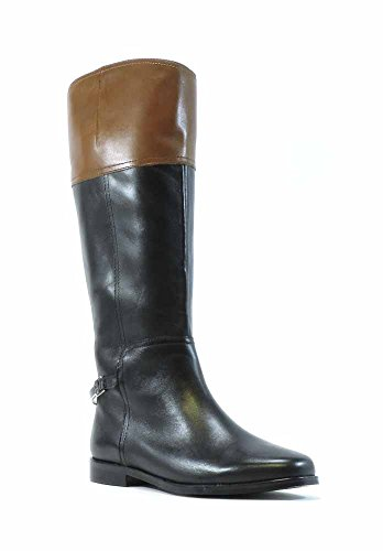 Lauren Ralph Lauren Women's Berna Vachetta Riding Boot,Black/Polo Tan,8.5 M - Boots Polo Lauren Women Ralph