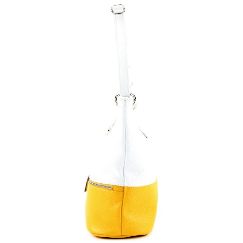 bag T143 ital White Shoulder bag de bag Leather bag Modamoda Yellow Leather Shoulder RAvxzwwq