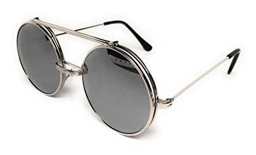 WebDeals - Round Flip Up Steampunk Flip-Up Metal Django Sunglasses (Silver, Silver Mirror) (Glass Round Cross)