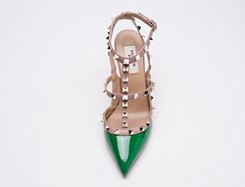 nude Pan Slingback Green gold Trim Pumps Studs Heel High Studded Kaitlyn Patent Toe Leather Pointed gwqPPH
