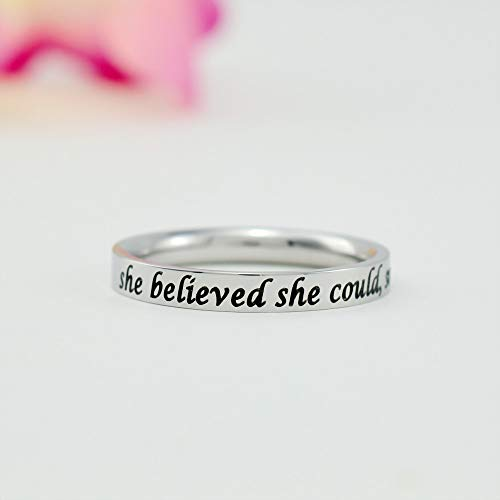 she believed she could, so she did - Dainty Stainless Steel Stacking Band Ring, Motivating & Inspirational Quote, Friends Sisters Group Graduation Gift, Graduate Ring, Grad Gift for Her