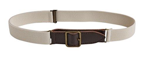 Sportoli8482; Kids Elastic Adjustable Leather Front Stretch Belt with Velcro Closure - Ivory