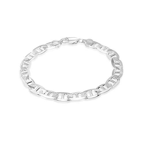 - Honolulu Jewelry Company Sterling Silver 4.5mm - 8mm Mariner Link Chain Necklace or Bracelet (8mm - 8.5 Inches)