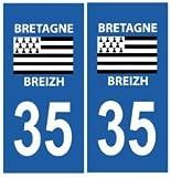 Autocollant plaque immatriculation auto département 35 Ille-et-Vilaine