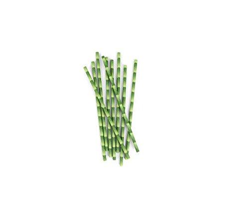 Kingken Einweg-Trinkhalm aus Papier, Bambus, 25 Stü ck