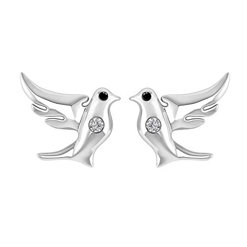 0.05 Ct Black & White Diamond Flying Dove Stud Earrings in 14K White Gold Fn 925 Sterling Silver