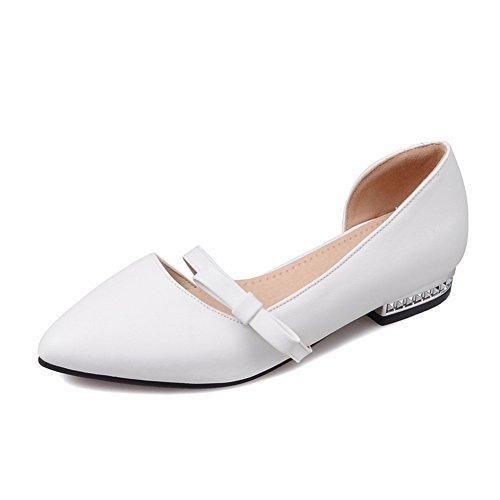 Flats Pull BalaMasa White Square Shoes On Heels Urethane Bows Womens 00SqTR