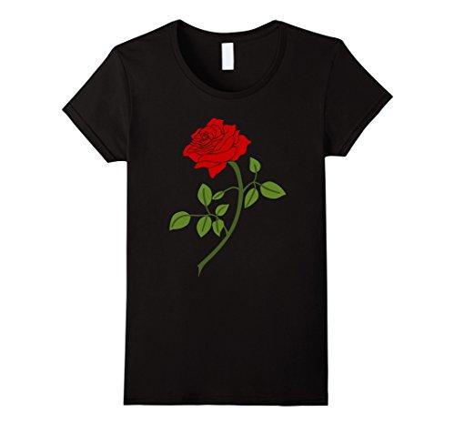 Womens Red Rose Flower T-Shirt 5 Medium (Ladies Red Rose)