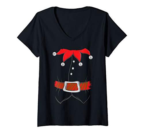 Womens Elf Costume Santa Claus Helper Christmas Winter Holidays V-Neck ()
