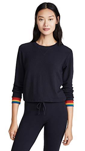 - Monrow Women's Crew Neck Sweatshirt with Rainbow Cuffs, Neptune, Blue, Stripe, Large