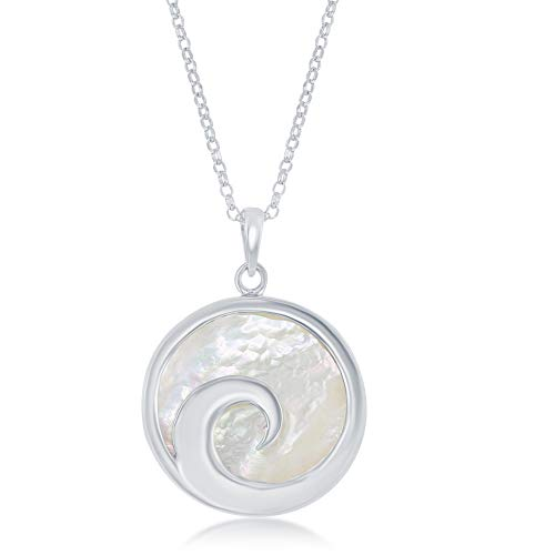 (Sterling Silver Italian Wave Design Mother of Pearl 18